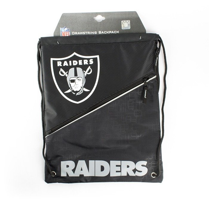 forever collectibles gymbag diagonal zip drawstring oakland raiders black grey oakland raiders. Black Bedroom Furniture Sets. Home Design Ideas
