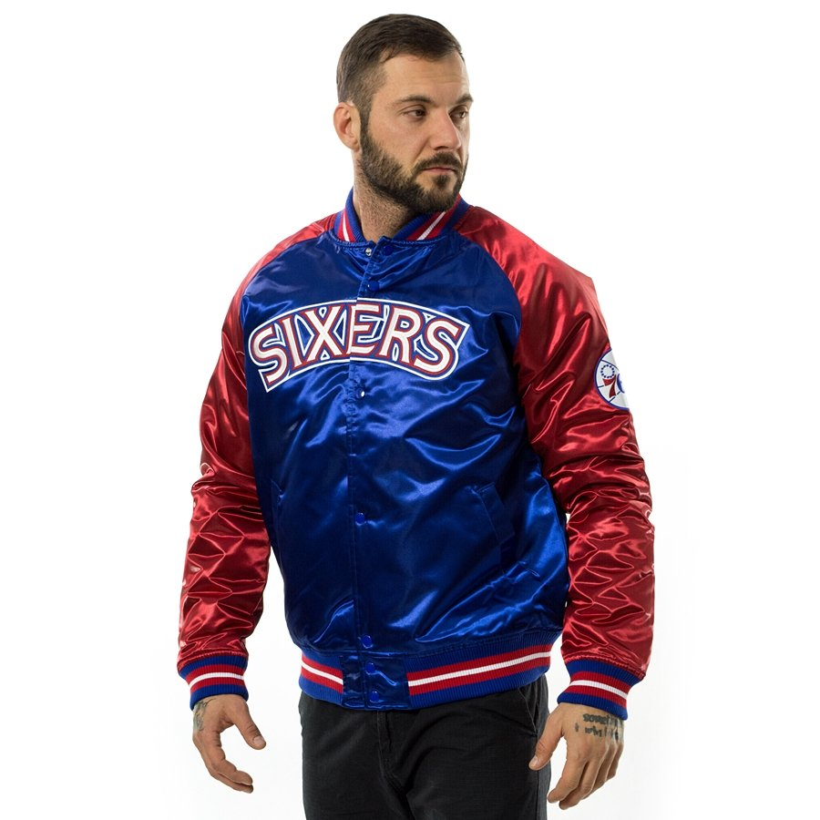 798a031470a Mitchell and Ness NBA Tough Season Satin Jacket Philadelphia 76ers royal    red Click to zoom ...