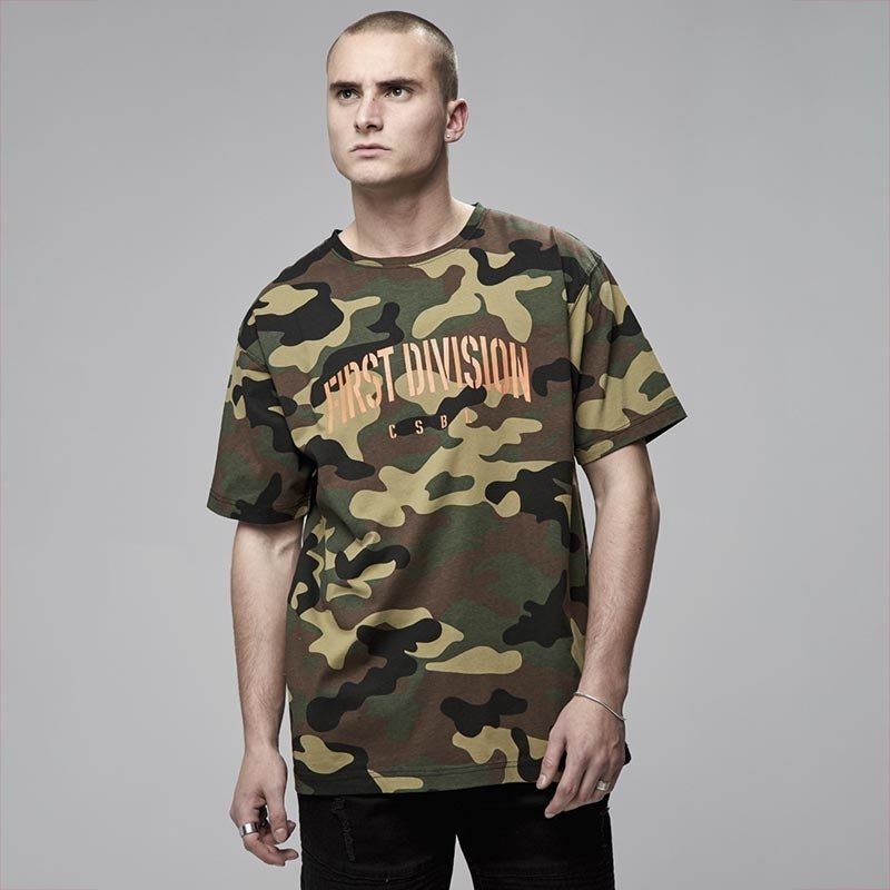 24449970f Cayler and Sons t-shirt CSBL Patched Oversized Tee woodland camo / orange  Click to zoom ...