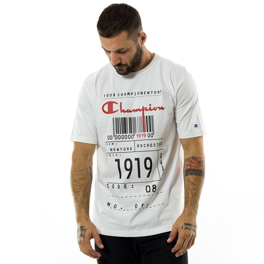 3a734651 Champion t-shirt Reverse Weave Barcode white (111076/F18/WW001 ...