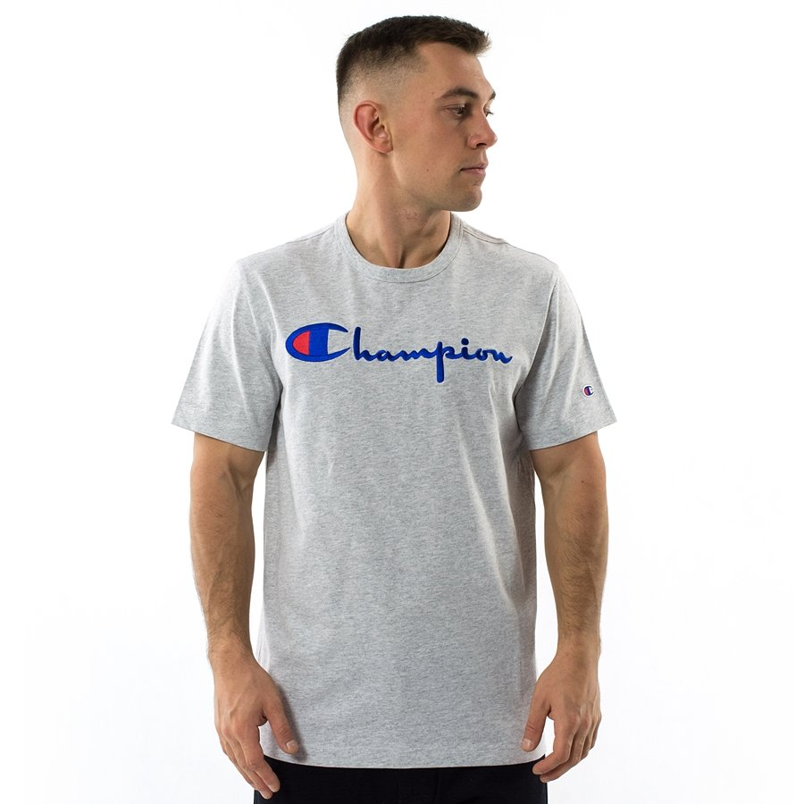 224b3554bc9148 Champion t-shirt Reverse Weave Embroidered Script Logo Tee light heather  grey (210972/ Click to zoom ...