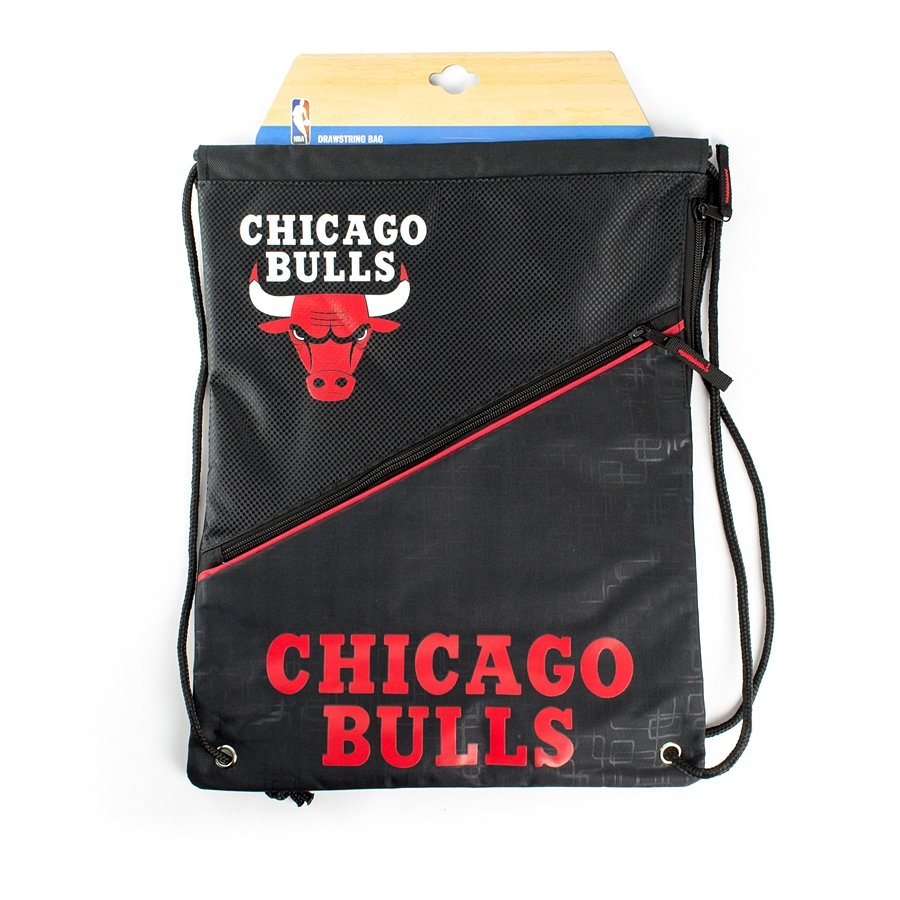 95600e5845 Forever Collectibles gymbag Diagonal Zip Drawstring Chicago Bulls black    red Click to zoom ...