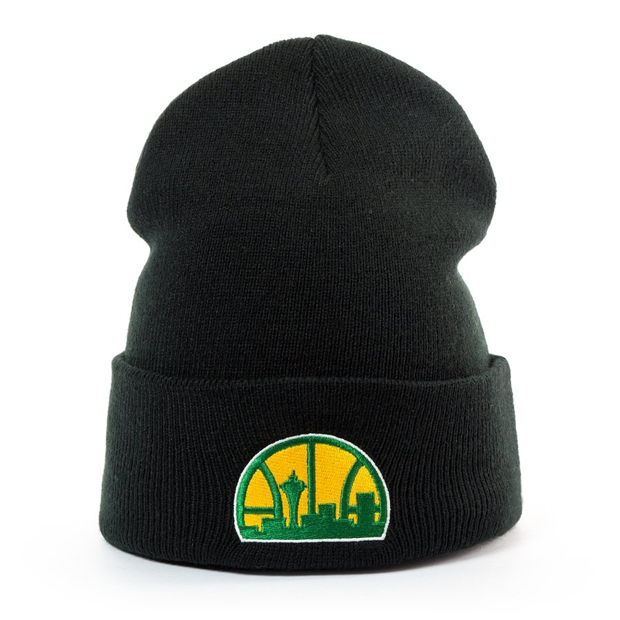 465a097107c Mitchell and Ness Logo Cuff Knit Seattle SuperSonics black Click to zoom ...