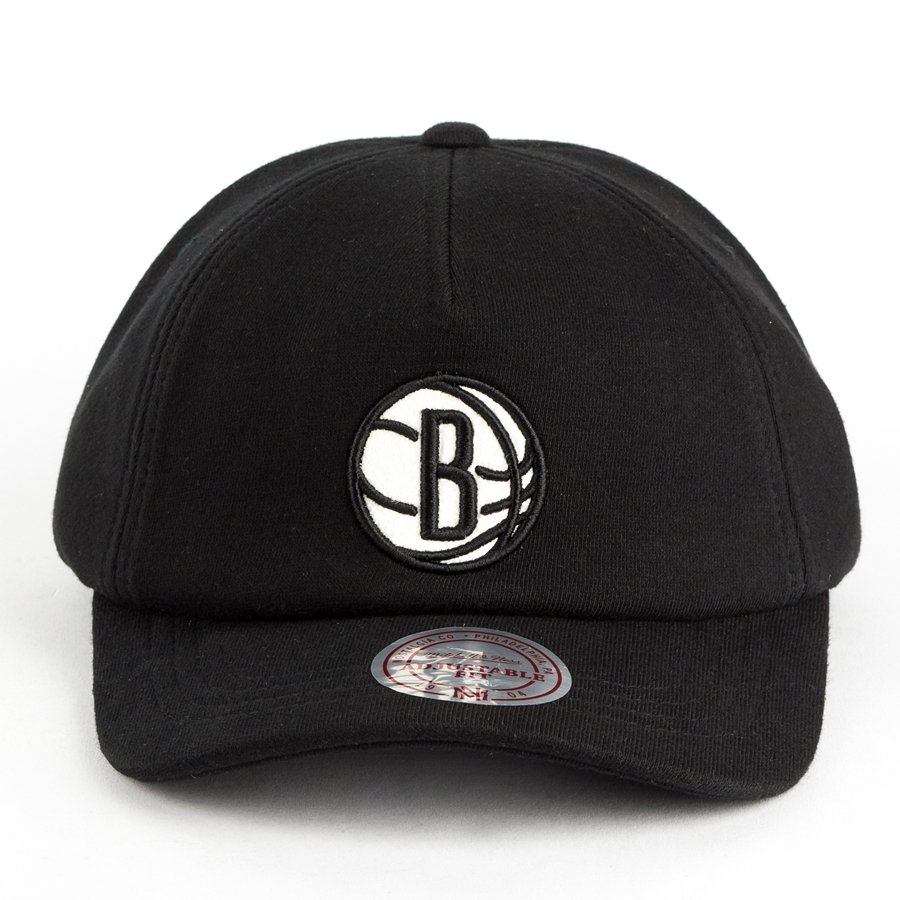 new style 045d1 9961b Mitchell and Ness dad cap Throwback Snapback Brooklyn Nets black Click to  zoom ...