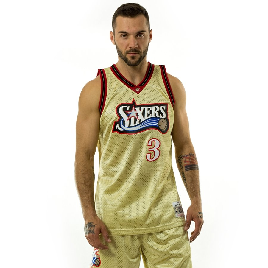 7197c0d21 Click to zoom · Mitchell and Ness gold swingman jersey QS Philadelphia  76ers Allen Iverson gold   red