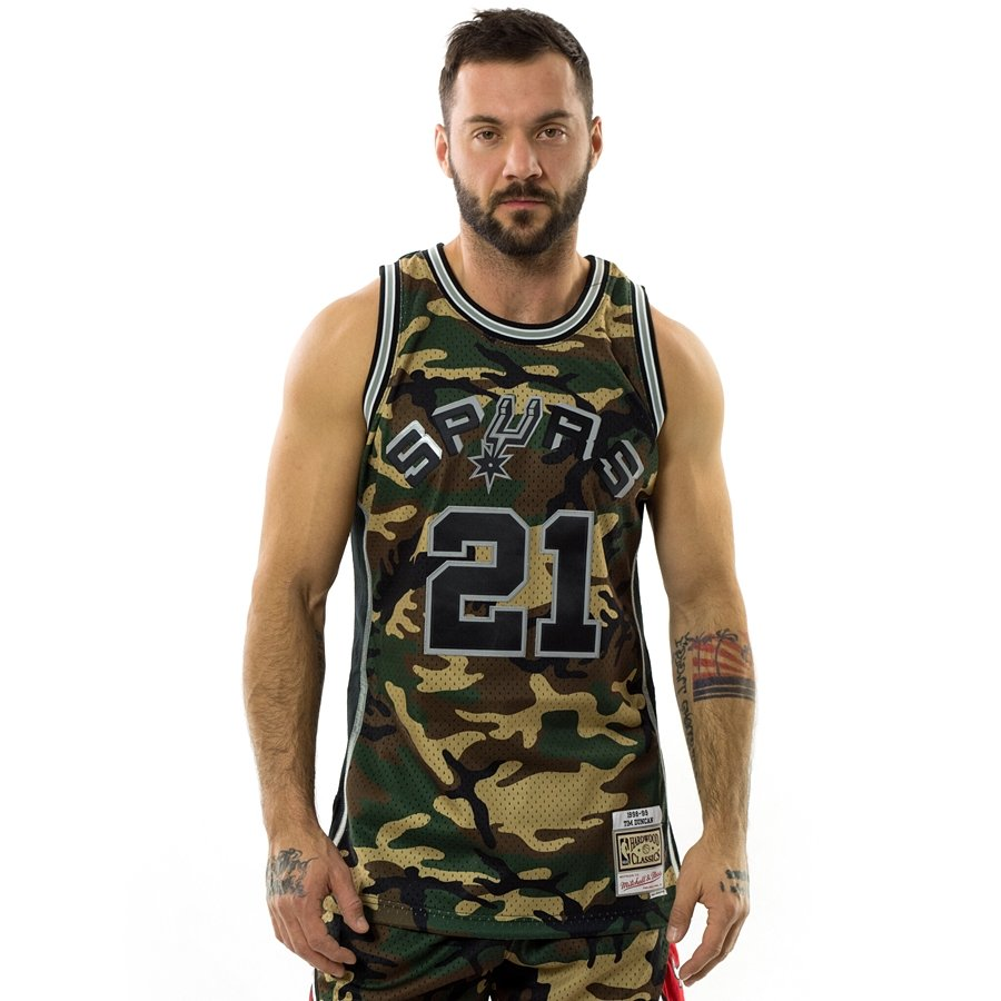 4143fe92f14 Click to zoom; Mitchell and Ness swingman jersey Camo QS San Antonio Spurs  Tim Duncan woodland camo