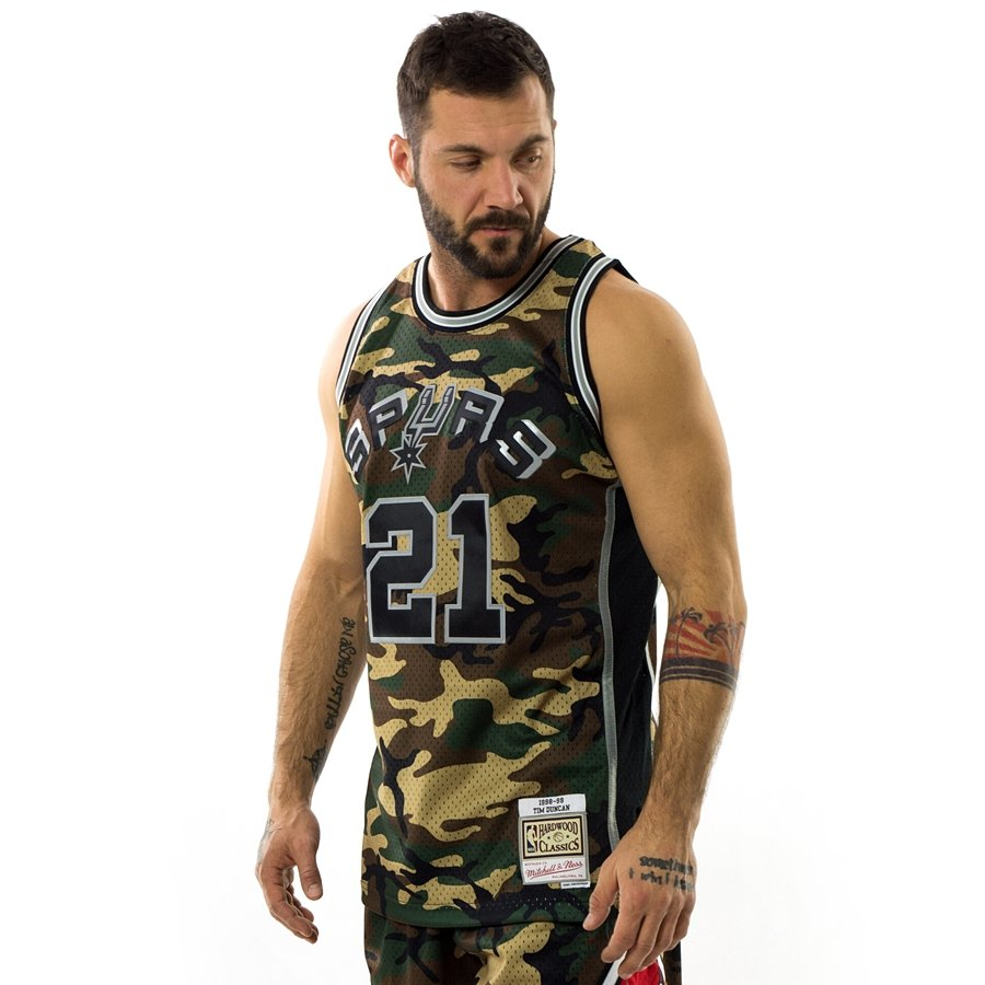 1b3ccdf6f Click to zoom · Mitchell and Ness swingman jersey Camo QS San Antonio Spurs  Tim Duncan ...
