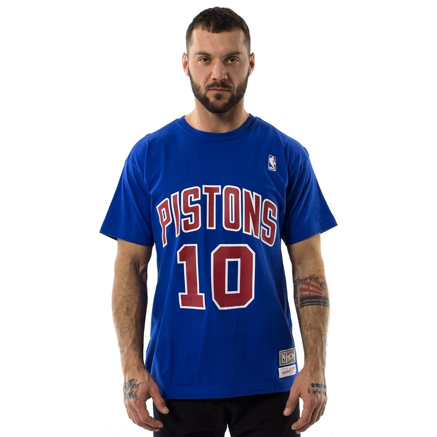 6479bd5548b Mitchell and Ness t-shirt Rodman  10 Player Name   Number Detroit Pistons  blue Click to zoom ...