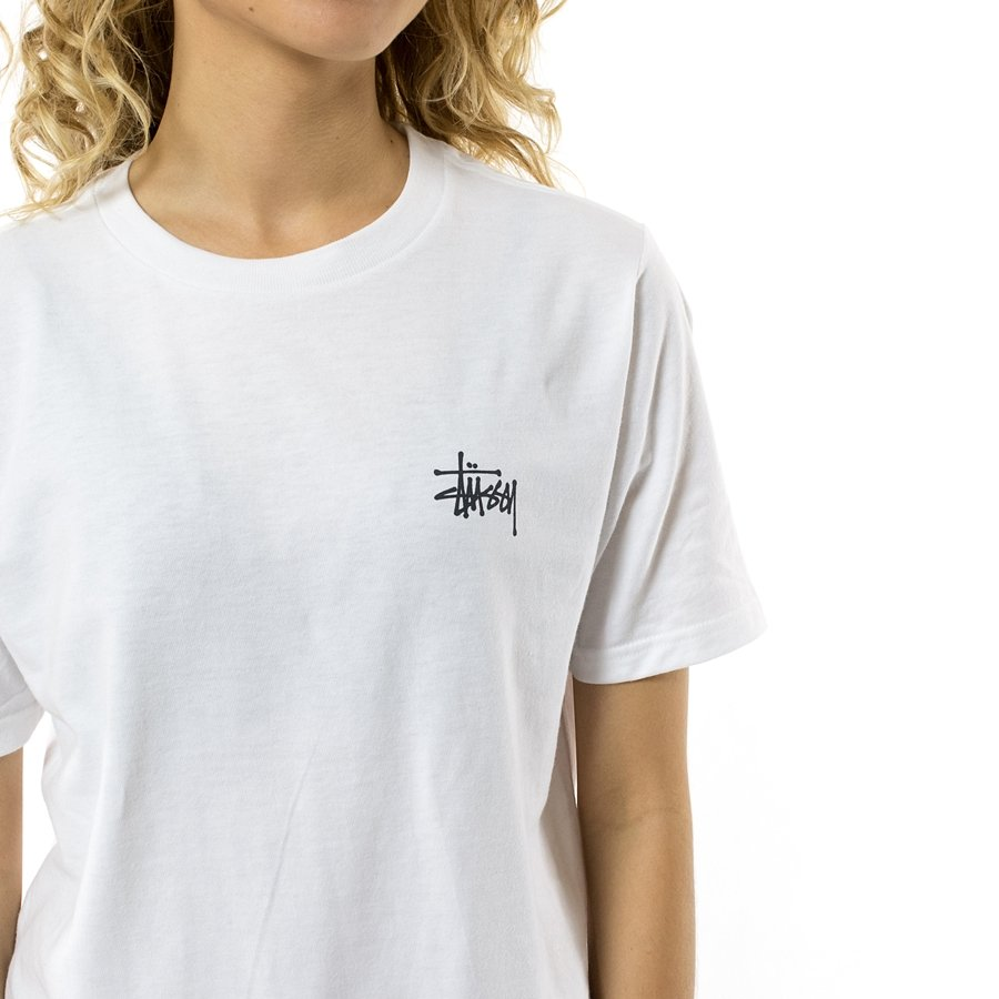 stussy t shirt wmns basic stussy tee fw17 white white t. Black Bedroom Furniture Sets. Home Design Ideas