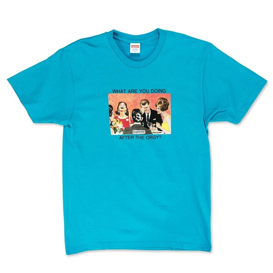 Supreme t shirt Orgy teal