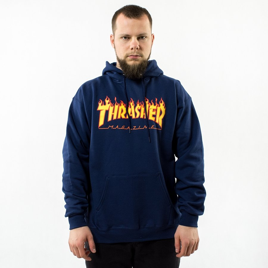 c0cebec99299 Thrasher sweatshirt hoody Flame Logo navy blue Click to zoom ...