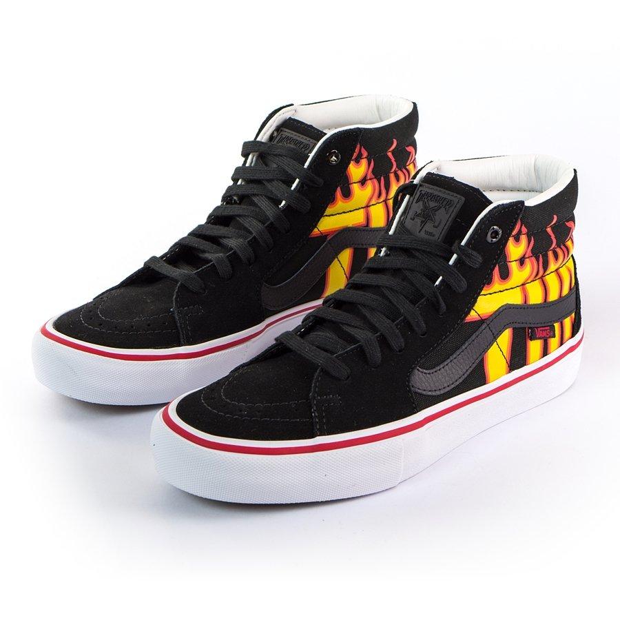 Vans x Thrasher Sk8 Hi Pro Black Skate Shoes | Shoes, Skate