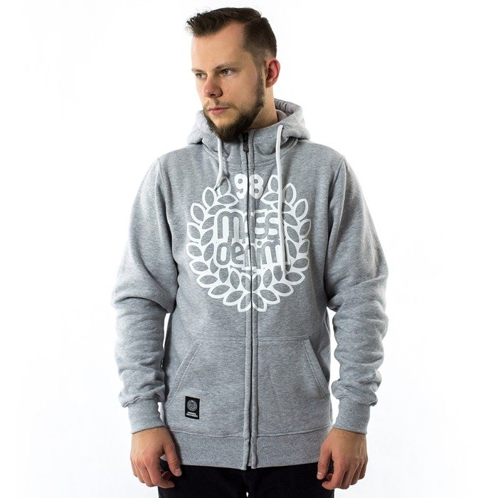 Mass Denim sweatshirt hoody Zip Base light heather grey