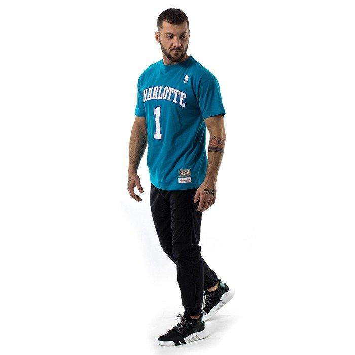 Mitchell and Ness t-shirt Bogues #1 Player Name & Number Charlotte Hornets green