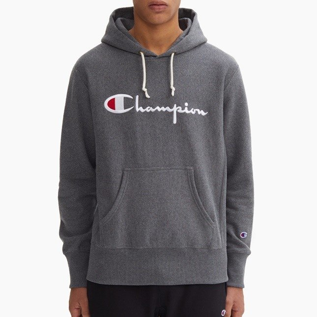 Bluza męska Champion Reverse Weave hoody Emb. Script Logo dark grey heather (212574F19EM519)