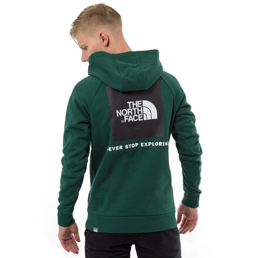 szczegółowe obrazy profesjonalna sprzedaż wyprzedaż w sprzedaży Bluza męska The North Face hoody Raglan Red Box night green (T92ZWUN3P)