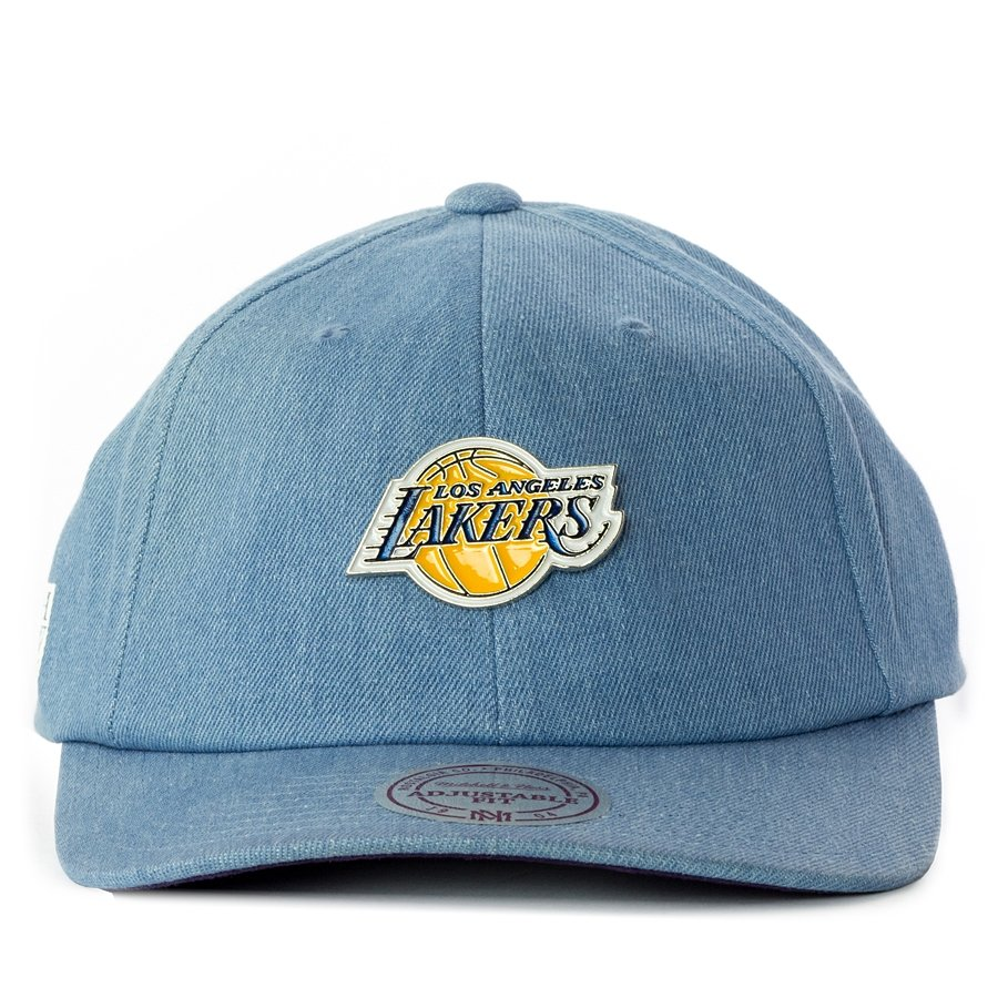 Czapka z daszkiem Mitchell and Ness strapback Denim Pin Los Angeles Lakers blue