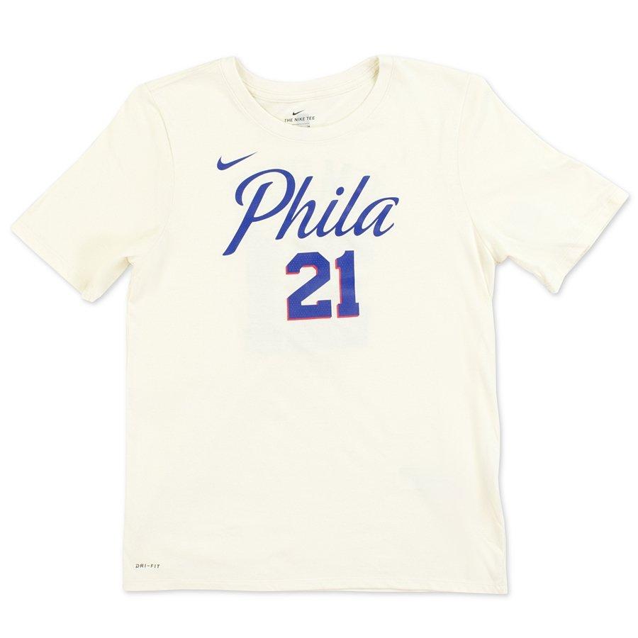 Koszulka dziecięca Nike t shirt City Edition ES Philadelphia 76ers Joel Embiid natural (EZ2B7NAAC 76RJL)