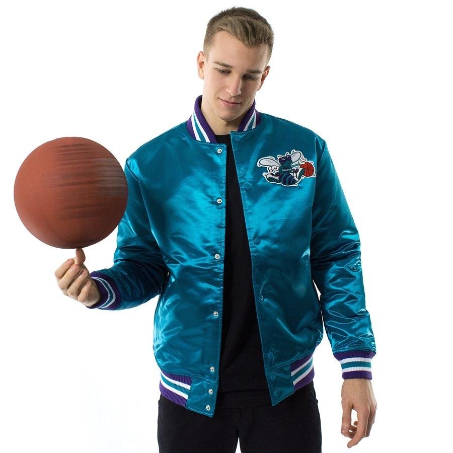 Kurtka męska Mitchell and Ness NBA Satin Jacket Charlotte Hornets teal