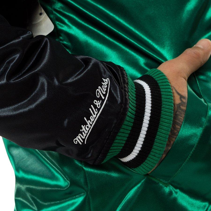 Kurtka męska Mitchell and Ness NBA Tough Season Satin Jacket Boston Celtics green black