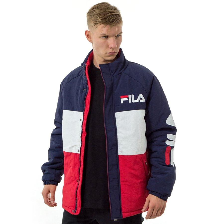Kurtka zimowa męska FILA jacket Nikolla padded black iris true red bright white (687287 G06)