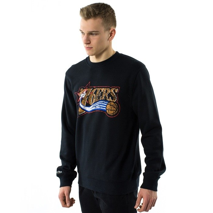 Bluza męska Mitchell and Ness crewneck Distressed Team Logo Traditional Philadelphia 76ers black