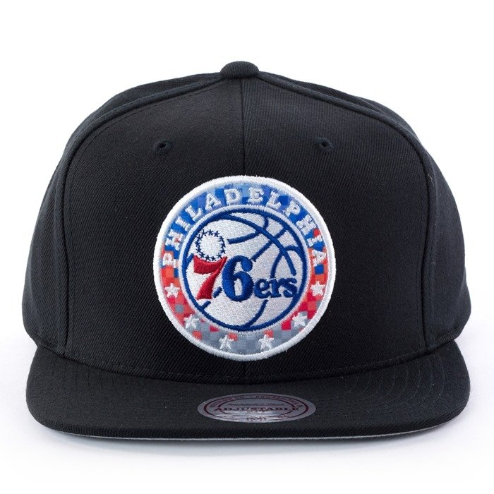 Czapka z daszkiem Mitchell and Ness snapback Easy Three Digital XL Philadelphia 76ers black