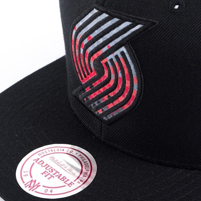 Czapka z daszkiem Mitchell and Ness snapback Easy Three Digital XL Portland Trail Blazers black
