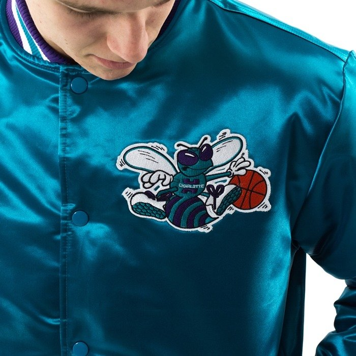 Kurtka męska Mitchell and Ness NBA Satin Jacket Charlotte Hornets teal