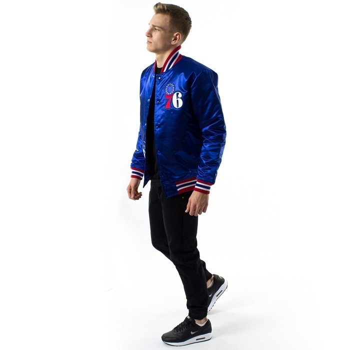 Kurtka męska Mitchell and Ness NBA Satin Jacket Philadelphia 76ers royal